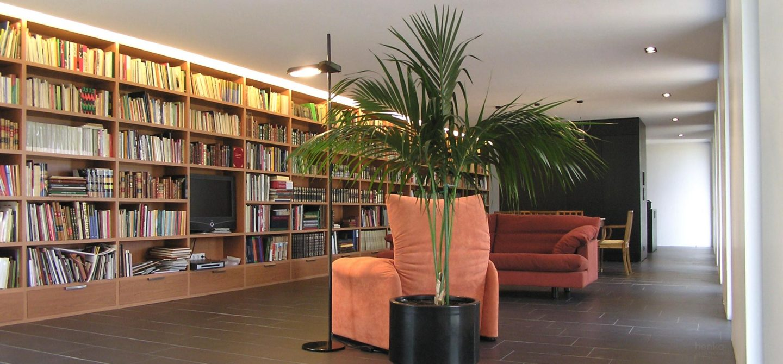 zona estar espacio diafano libros biblioteca casa campo pinar libreros Bamba Zamora Deltalight Henka Arquitectos