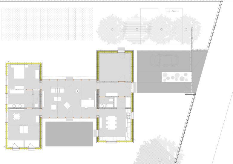 Plano distribución Casa Pinar Antequera Valladolid Henka Arquitectos
