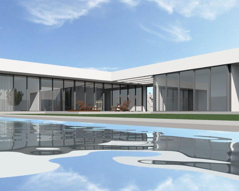 maqueta 3D desde piscina Casa en Tierra del Vino Morales infografia arquitectura vista piscina Henka Arquitectos