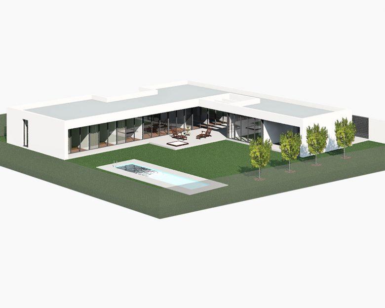 maqueta Casa en Tierra del Vino Morales infografia arquitectura vista aerea Henka Arquitectos