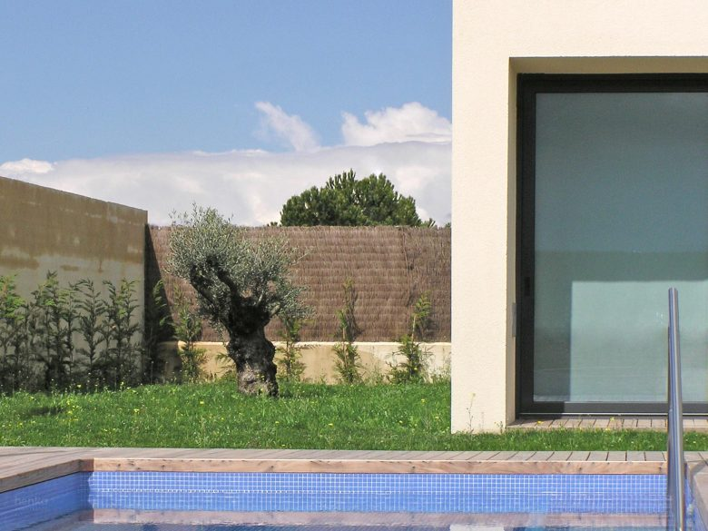 Implantación piscina Casa parcela Tierra Vino Morales Zamora Henka Arquitectos