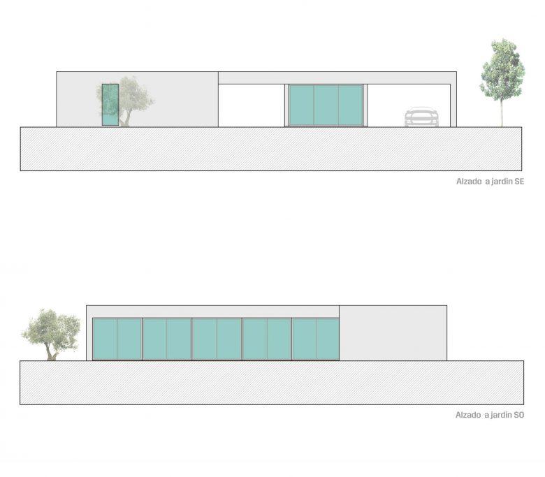Alzados jardin Casa Morales Vino Henka Arquitectos