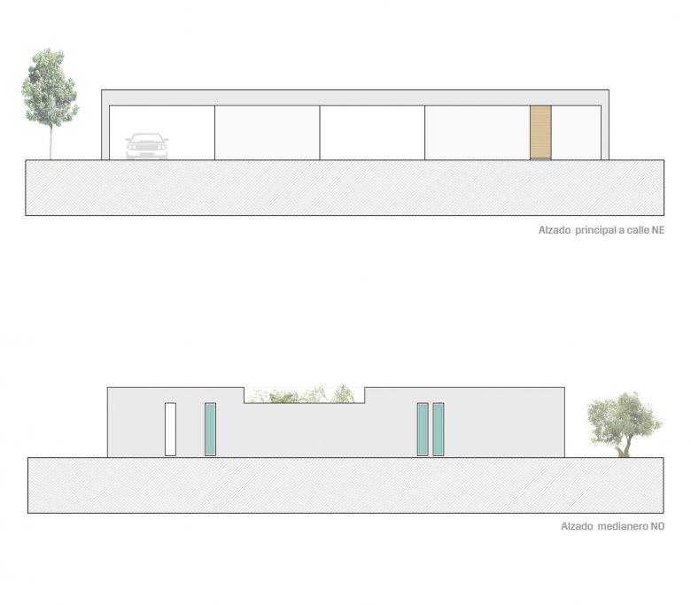 Alzados calles Casa en Tierra del Vino Morales planos arquitectura alzados calle Henka Arquitectos