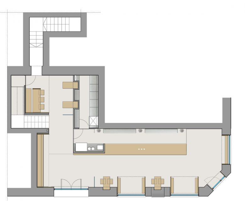 Distribución Reforma integral Restaurante Serafin Zamora por Henka Arquitectos