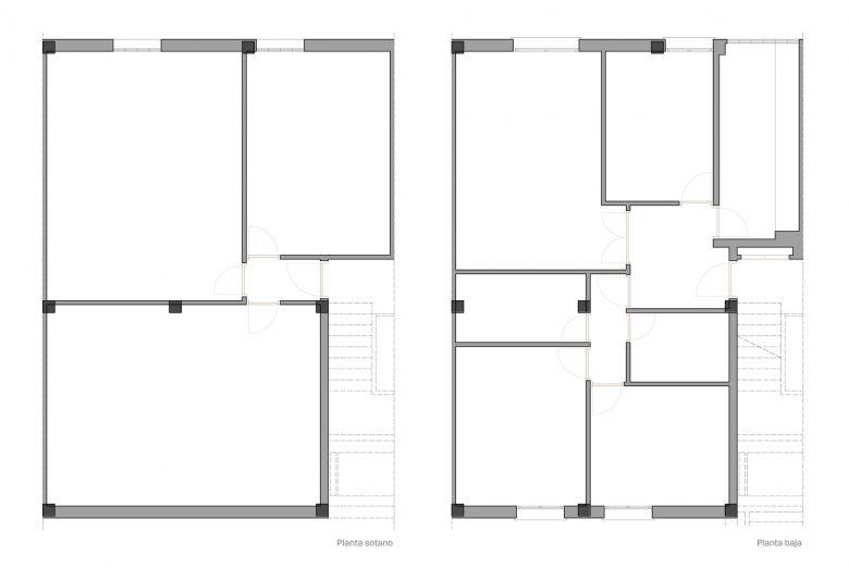 Distribución estado inicial Reforma duplex Villate Burgos Henka Arquitectos
