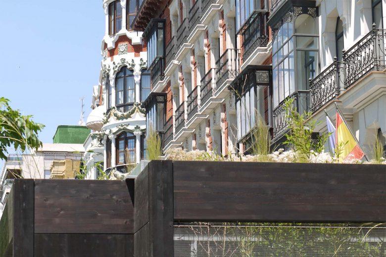 Ecoterraza pabellón prefabricado modular Detalle cubierta vegetal gramineas sedum HenkaArquitectos