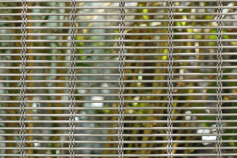 Ecoterraza detalle malla metalica acero inoxidable HenkaArquitectos