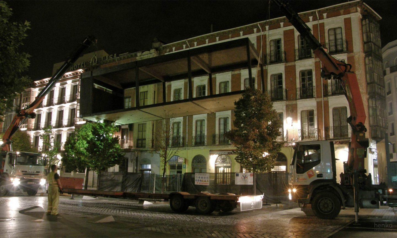EcoTerraza pabellón prefabricado modular transportable descarga Acera Recoletos Valladolid Henka Arquitectos