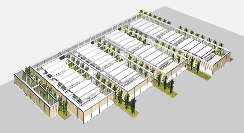 emplazamiento maqueta volúmenes mercado provisional Feria Muestras Valladolid Henka Arquitectos