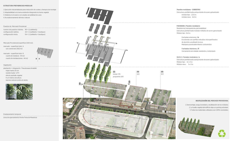 estructura prefabricada desmontable Mercado provisional Feria Muestras Valladolid Henka Arquitectos