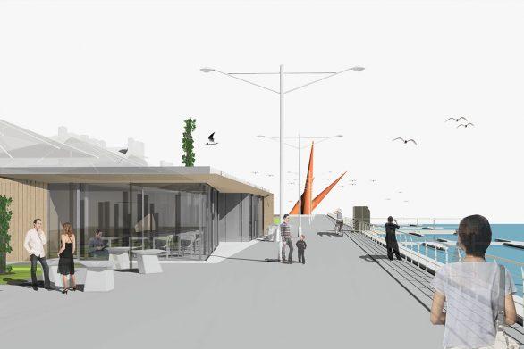 terraza prefabricada transportable Paseo maritimo Avilés Asturias Henka Arquitectos