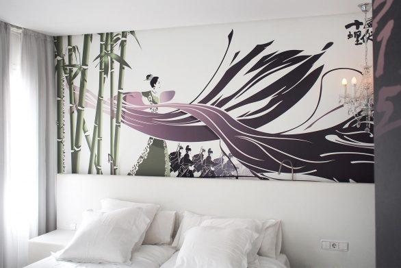 diseño mural House of Flying Daggers Hotel Dormirdcine Henka Arquitectos