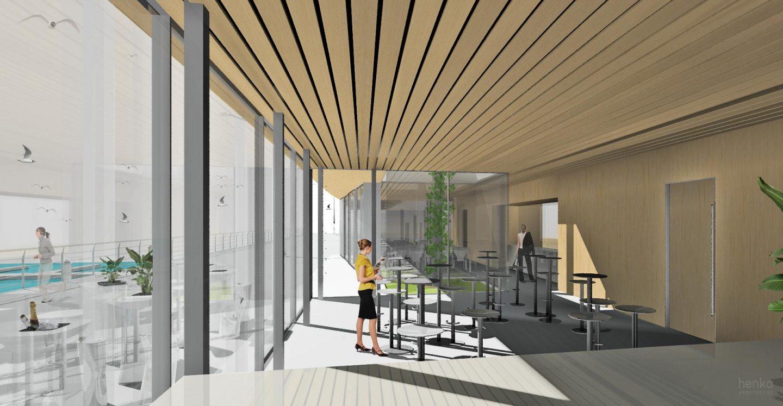 interior terraza modular prefabricado pabellon paseo maritimo Avilés Asturias Henka Arquitectos