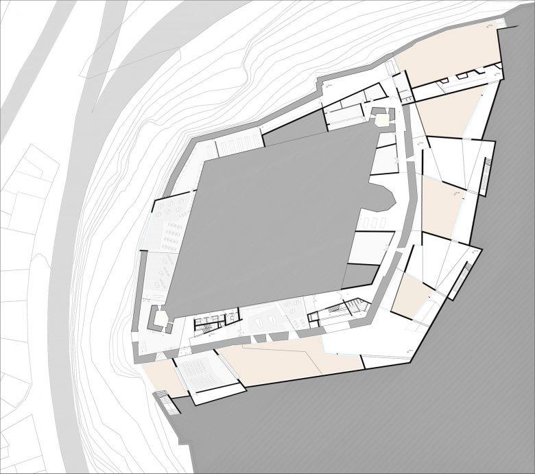 distribución planta sotano Museo Musée Baltasar Lobo Castillo Zamora maquette Prix MAF 2003 Académie d'Architecture Paris Henka Arquitectos