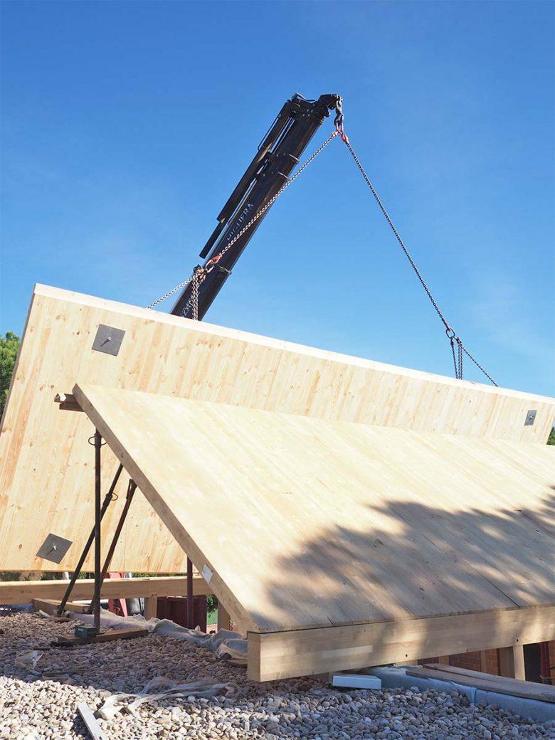 obra cubierta madera laminada Casa Pinar Antequera Valladolid Henka Arquitectos