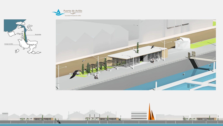 propuesta terrazas pabellon paseo maritimo Avenida Conde Guadalhorce Avilés Asturias Henka Arquitectos