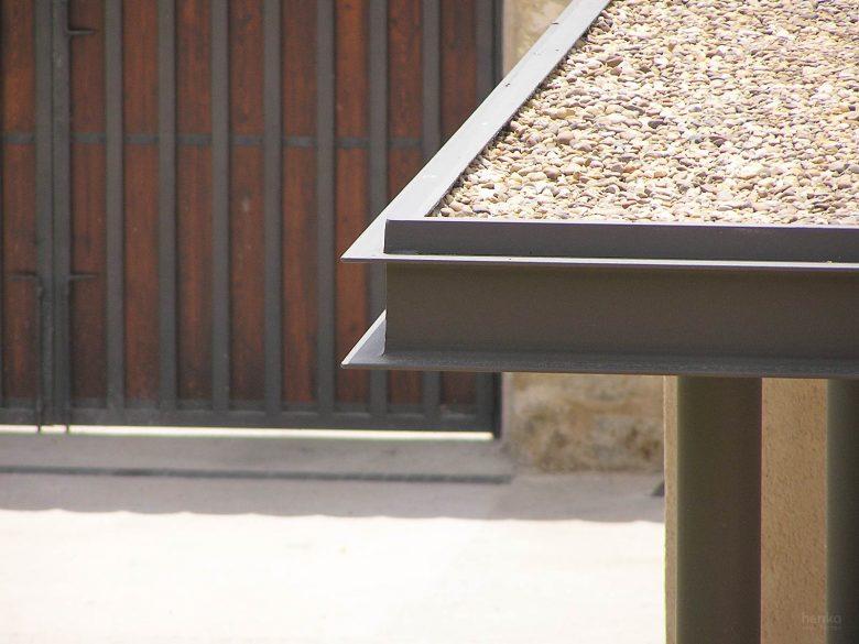 Detalle cubiertas planas Reforma Ampliación caserio castellano Mucientes Valladolid Henka Arquitectos