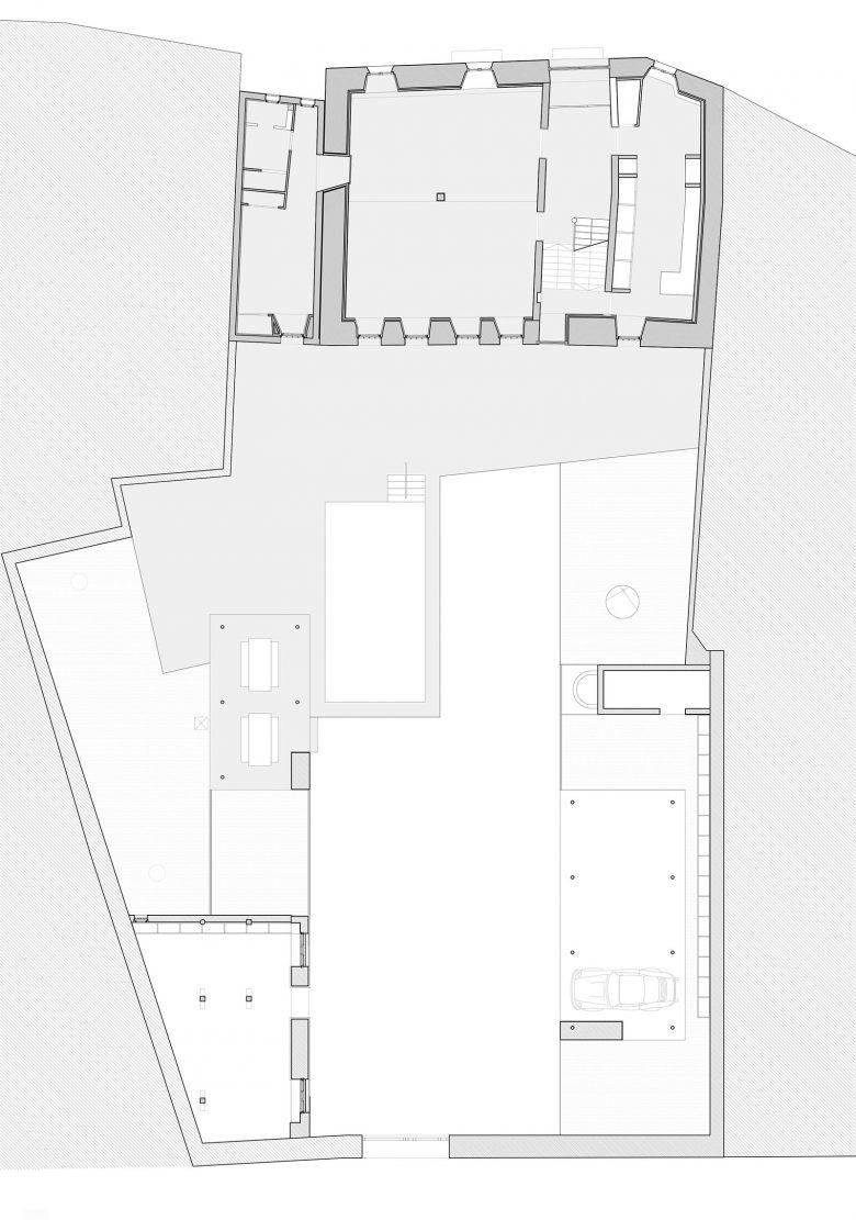 Plano de distribución planta baja Caserio castellano Mucientes Valladolid Henka Arquitectos