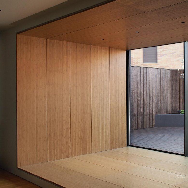 Armarios paneles madera maciza bambú espesor 20 mm cama abatible Reforma Ampliación Trascastillo Zamora Henka Arquitectos