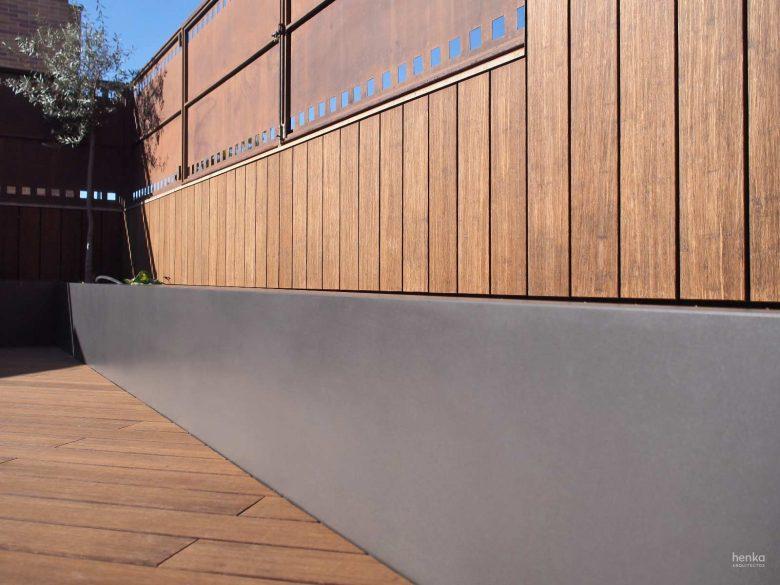 Remates jardinera acero madera terraza ampliación terraza, Trascastillo. Zamora. Henka Arquitectos