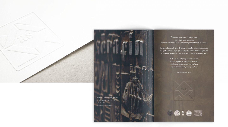 Restaurante Serafin Zamora diseño gráfico carta menu branding identity henkaarquitectos