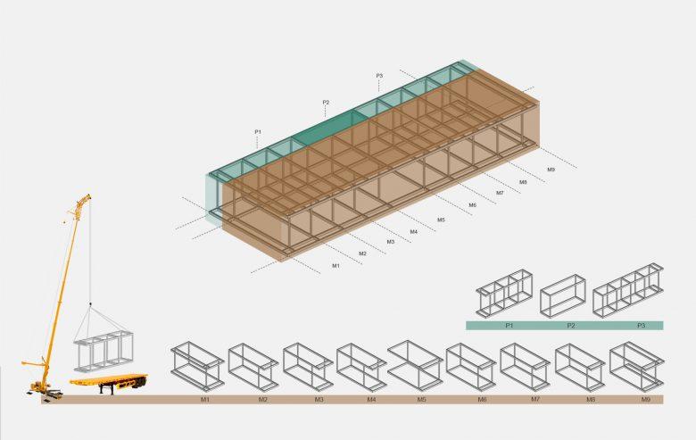 sistema modular prefabricado terraza paseo maritimo Avilés Asturias Henka Arquitectos