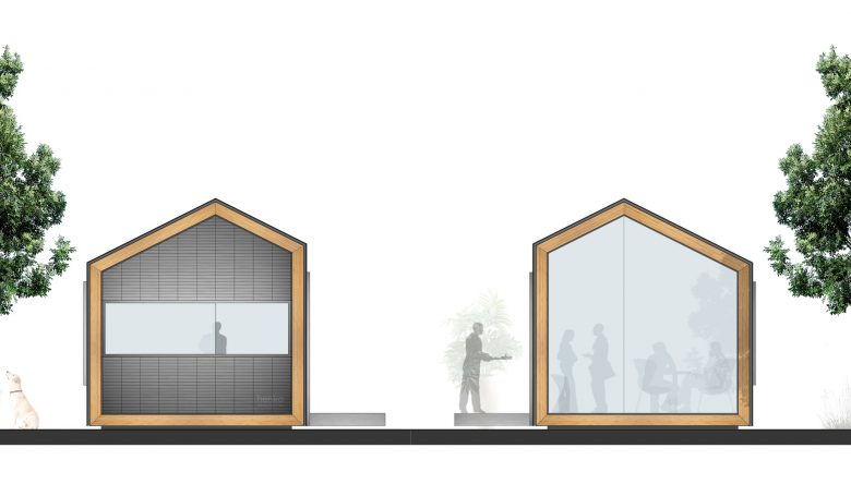 sistema prefabricado Eco-Pabellon alzados laterales Valladolid Henka Arquitectos