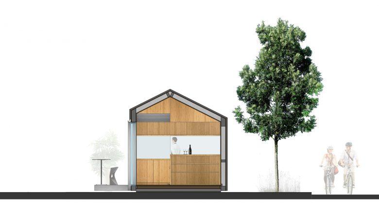 sistema prefabricado Eco-Pabellon sección Valladolid Henka Arquitectos