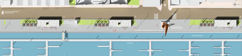 situación terraza modular prefabricado paseo maritimo Avenida Conde Guadalhorce Avilés Asturias Henka Arquitectos