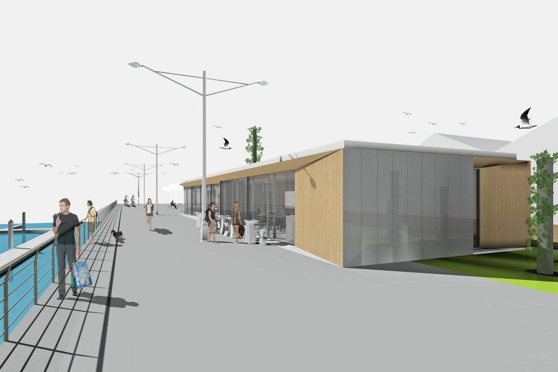terraza modular prefabricado pabellon paseo maritimo Avilés Asturias Henka Arquitectos