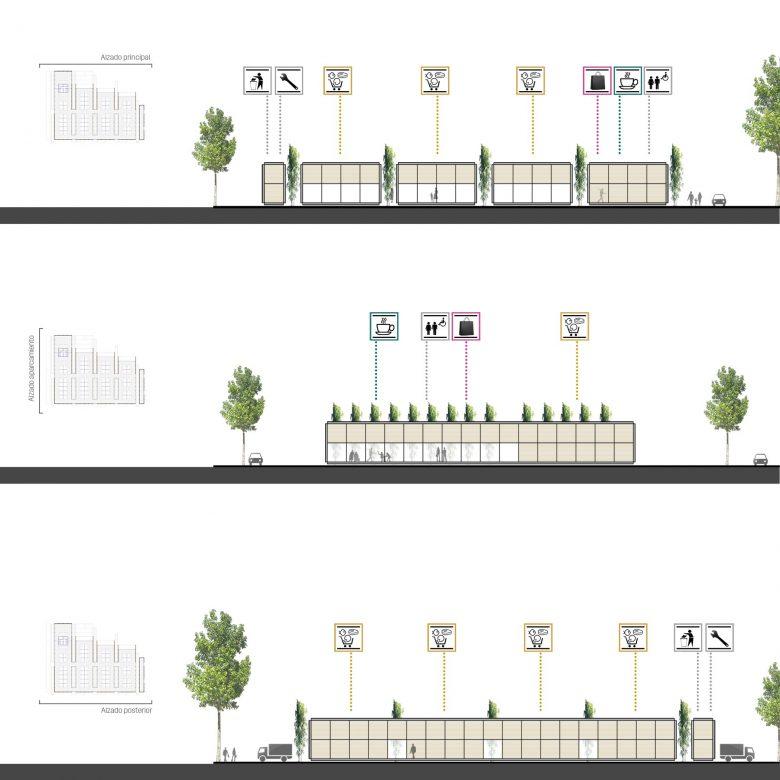 usos alzados volúmenes Mercado provisional Feria Muestras Valladolid Henka Arquitectos