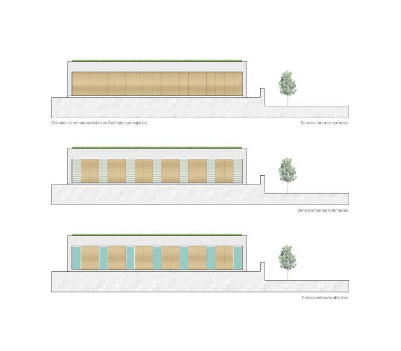 alzados casa campo pinar libreros Bamba Zamora Henka Arquitectos