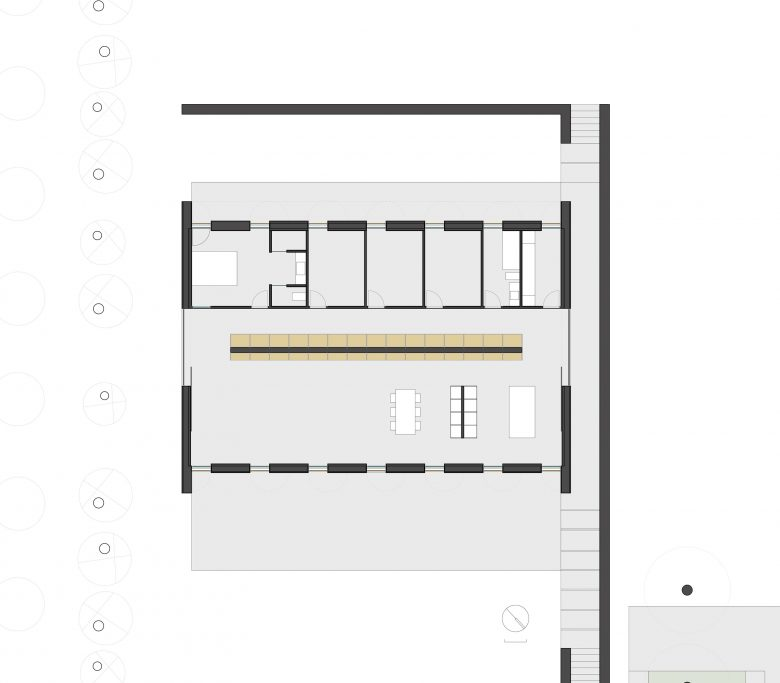 distribución casa campo pinar libreros Bamba Zamora Henka Arquitectos