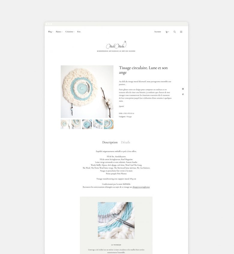 diseño website ecommerce crafts wall weaving tissage wool laboutiquedemelimelo HenkaWebs HenkaArquitectos